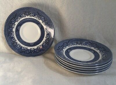 """Churchill Made in England BLUE WILLOW Lot of 6 ~ 5 1/2"""" Saucers"""