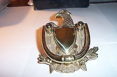 Vintage Patriotic Americana Solid Brass Eagle w/Shield Door Knocker Architectual