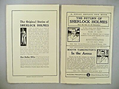 Sherlock Holmes Stories Book LOT of 2 PRINT AD - 1905 ~~ Arthur Conan Doyle