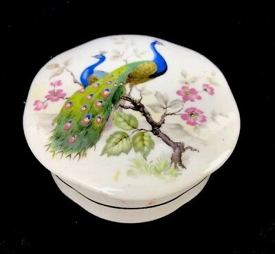 Crown Devon Fortnum & Mason English Covered Jar Peacocks Dresser Vanity As Is