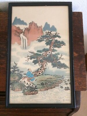 Hand Painted Chinese Silk - Framed - Estate Find