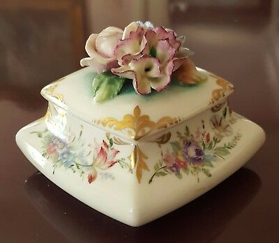 Antique Hand Painted Porcelain Box Applied Flowers Germany Mint Condition