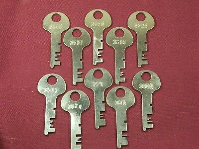 10 Vintage Flat Steel Keys Trunk Padlock Chest Antique Lock Box Desk Cabinet Key