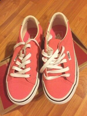 "Vans Girl's Canvas ""Camellia Rose"" Pink and White Sneakers U Choose Youth Sz New"