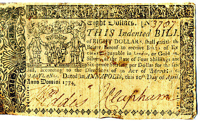 Original Rare Maryland Eight Dollars 1774 Colonial Currency Revolutionary War