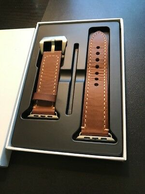 Fullmosa Genuine Leather Apple Watch Replacement Band 42 mm Brown