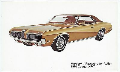 1970 Mercury COUGAR XR-7 Hardtop Coupe Vintage Dealer Promo Postcard UNUSED VG+