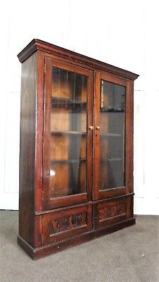 Large Antique pitch pine glazed bookcase / display cabinet