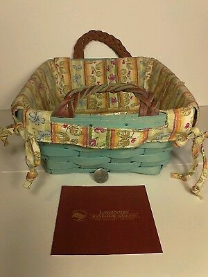 2008 Tami Longaberger Signed Turquoise Blue Basket Leather Handles Fabric Liner