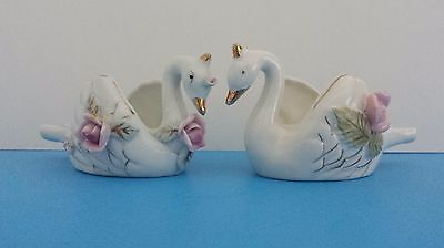 Vintage Pair Of White Ceramic Swans With Roses Made in Japan Ucagco