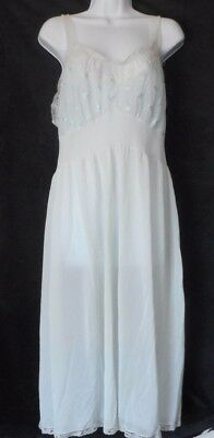 Vintage Van Raalte Nylon Sheer Embroidered Blue Flowers Lace Nightgown Slip