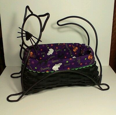 2009 Longaberger HALLOWEEN PARTY BLACK CAT BASKET, PROTECTOR, SPOOKY CLOTH LINER