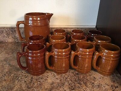 Pottery Vintage Brown Unsigned Rootbeer Beer Pitcher Barrel 11 Mugs Tankards Set