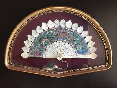 ANTIQUE 19th C CHINESE MANDARIN FAN CARVED SCHOLAR ART 1000 APPLIED FACES w CASE