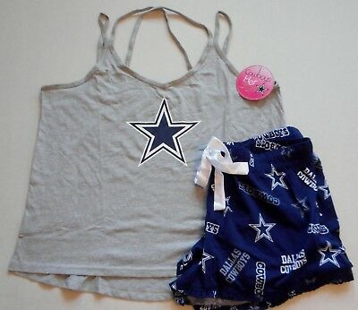 Dallas Cowboys Women's Sleep Lounge Set Shirt Shorts Pajamas Xl 2X Nwt Blue Gray