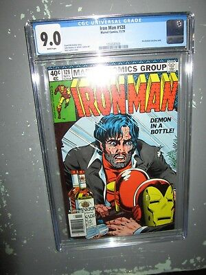 """Iron Man # 128 - """"Demon In a Bottle"""" alcoholism story CGC 9.0 White Pages"""