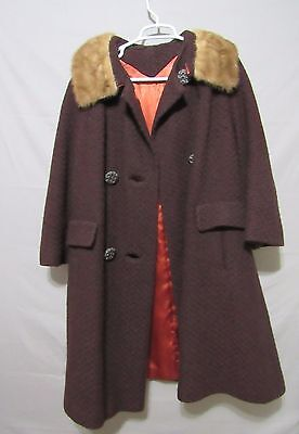 ILGWU  women jacket winter coat 1950's style button front double breasted sz M