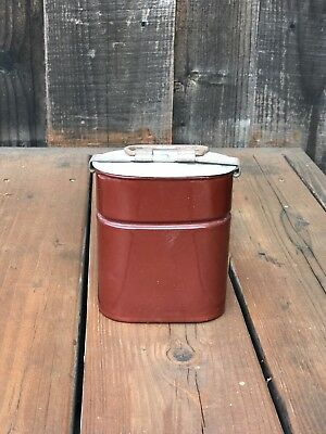 Rare c1920s, vintage small French red Enameled Miner Lunch Box. Signed DUCO BGB.