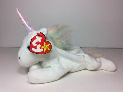 NEW MYSTIC Unicorn Irredescent Horn & Furry Mane 1994 1993 PE TY BEANIE BABY NOS