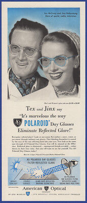Vintage 1948 POLAROID Day Glasses Tex McCrary Jinx Falkenburg Print Ad 40's