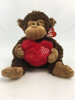 "Brown Monkey Jungle Love Red Heart Stuffed Animal 12.5"" Ty Classic Hartwell"
