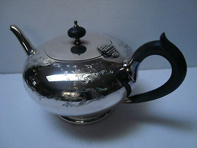 BIRKS CANADA REGENCY PLATE (SILVER PLATE) 40 ounce FLORAL ENGRAVED TEAPOT