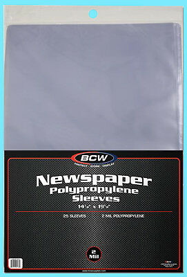 25 BCW 14X19 NEWSPAPER 2 MIL STORAGE SLEEVES Clear Poly Art Photo Print 14x19