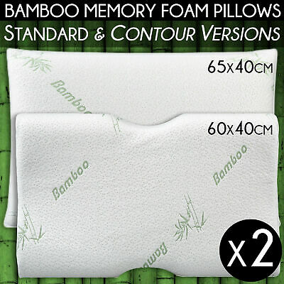 LUXURY Bamboo Pillow Memory Foam Neck Support STANDARD/ PREMIUM CONTOUR 65x40cm
