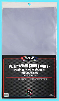 "25 BCW 16X24 NEWSPAPER STORAGE SLEEVES 2 MIL Art Photo Print 16-1/4"" x 24-1/8"""