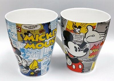 Collectible Pair Vintage Mickey Mouse Comic Disney Theme Mugs Rare! Hurry Last!