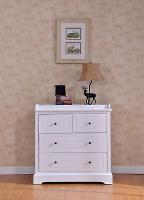 Quality White Finland Pine Baby Change Table 4 Chest of Drawers w/ change pad