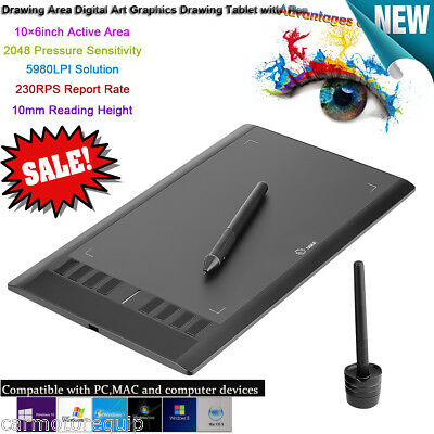 UGEE M708 10x6 inches Area Digital Art Graphics Drawing Tablet + Pen 5080 LPI UK