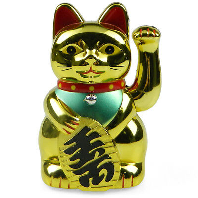 Chinese Lucky Beckoning Waving Cat Kitty Lucky Wealth Figure Feng Shui Gifts 5""