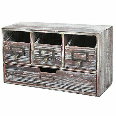 Rustic Storage Cabinets Brown Torched Wood Finish Desktop Office Organizer Craft