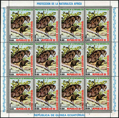 Equatorial Guinea 1970's 60e Wildlife Mongoose Cto Used Full Sheet #V5645