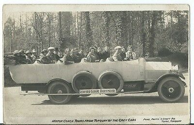 Charabanc Coach Tours Passengers Grey Cars Torquay Croft Road RP by Pyne