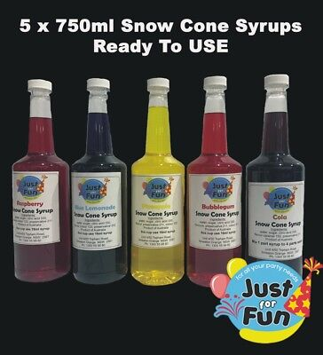 5 x 750ml Snow Cone Syrups, Slushie, Shaved Ice Syrup