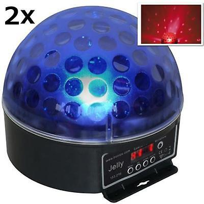 SET 2 x BEAMZ MAGIC FOCO BOLA LASER DISCO ILUMINACION LED RGB 6 DMX CLUB DJ