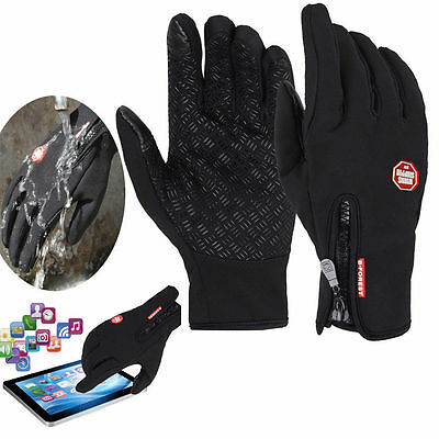 Black Touch Screen Windproof Waterproof Outdoor Sport Unisex Winter Warm Gloves