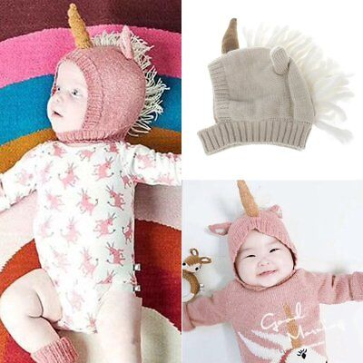 Winter Baby Toddler Kid Boy Girl Knitted Unicorn Crochet Ear Beanie Warm Hat Cap