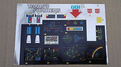 A Transformers replacement sticker/decal sheet for G1 Optimus Prime