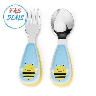 Skip Hop Baby Zoo Little Kid and Toddler Fork and Spoon Utensil Set, Multi Brook