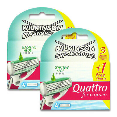 8x Wilkinson Quattro for Women Sensitive Rasierklingen für glatte Frauenbeine