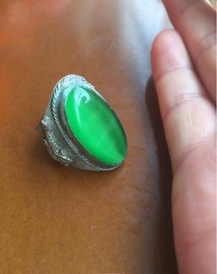 Chinese Inlay green opal Tibet Silver dargon phoenix old man Ring Collectible