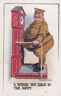 Comic, Humour, Donald McGill, Military, old postcard, unposted