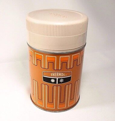 Vintage Thermos 10oz Wide Mouth Butterscotch 1970's Orange Stylized Design #6063