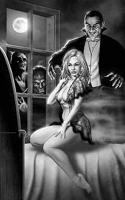 "Set Of 11 Sexy B&W Classic Horror Monster Creature 6"" x 4"" Art Photo Prints"