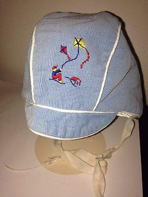 Vintage Corduroy Blue Baby Bonnet With Embroidered Boy Flying a Kite