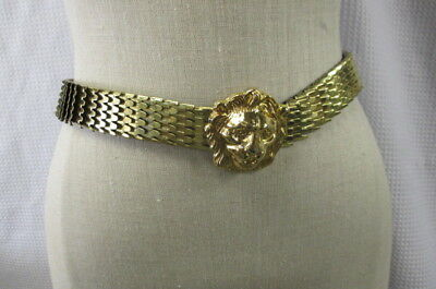 Vintage Gold Tone Fish Scale Stretch Belt Lion Head Door Knocker Adjustable