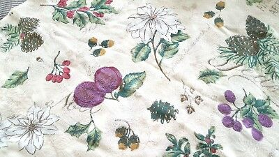 """Holiday floral fruit shadow damask print mix tablecloth 50"""" x 68"""" vtg"""